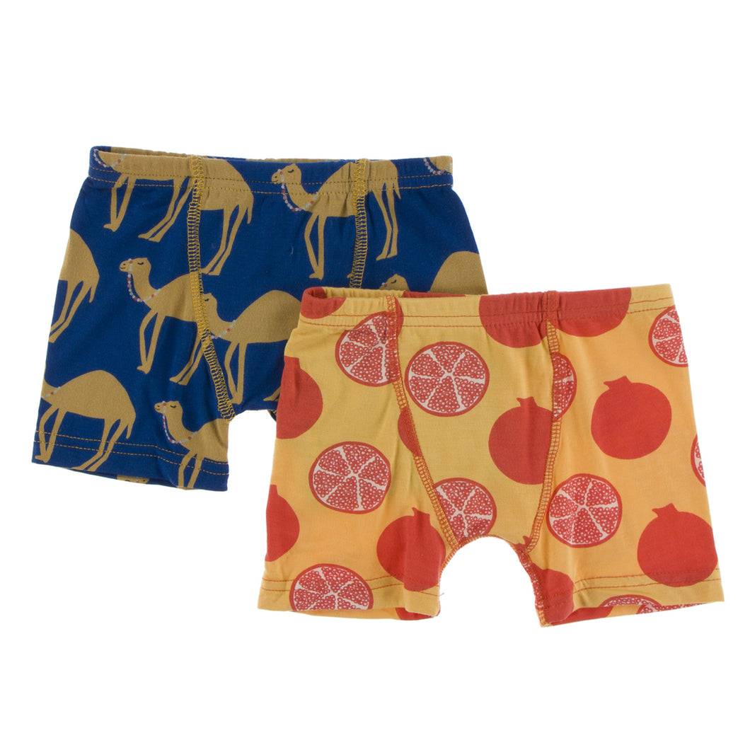 KicKee Pants Boys Boxer Briefs (Set of 2) Navy Camel & Marigold Pomegranate