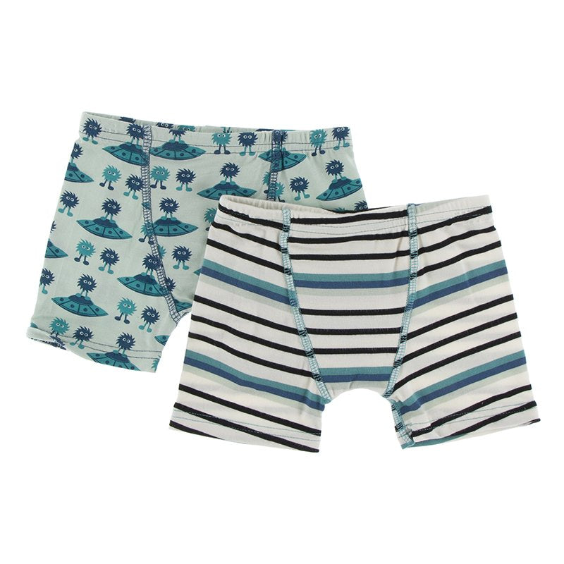 KicKee Pants Boys Boxer Briefs (Set of 2) Aloe Aliens with Flying Saucers & Neptune Stripe