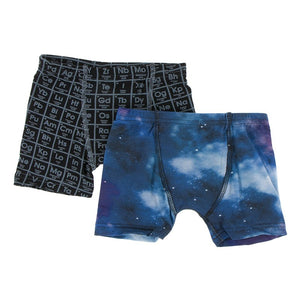 KicKee Pants Boys Boxer Briefs (Set of 2) Midnight Elements & Wine Grape Galaxy