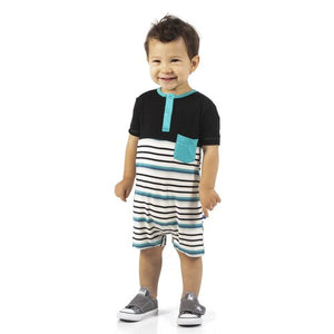KicKee Pants Short Sleeve Color Block Henley Romper with Pocket Neptune Stripe