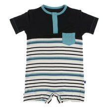 Load image into Gallery viewer, KicKee Pants Short Sleeve Color Block Henley Romper with Pocket Neptune Stripe