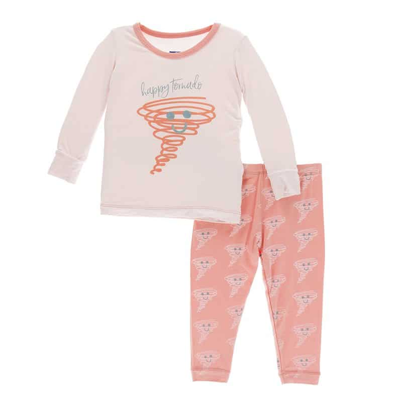 KicKee Pants Long Sleeve Pajama Set Blush Happy Tornado