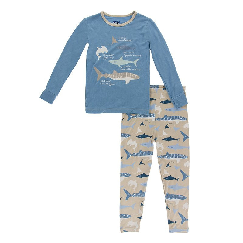 KicKee Pants Long Sleeve Pajama Sets Burlap Sharks