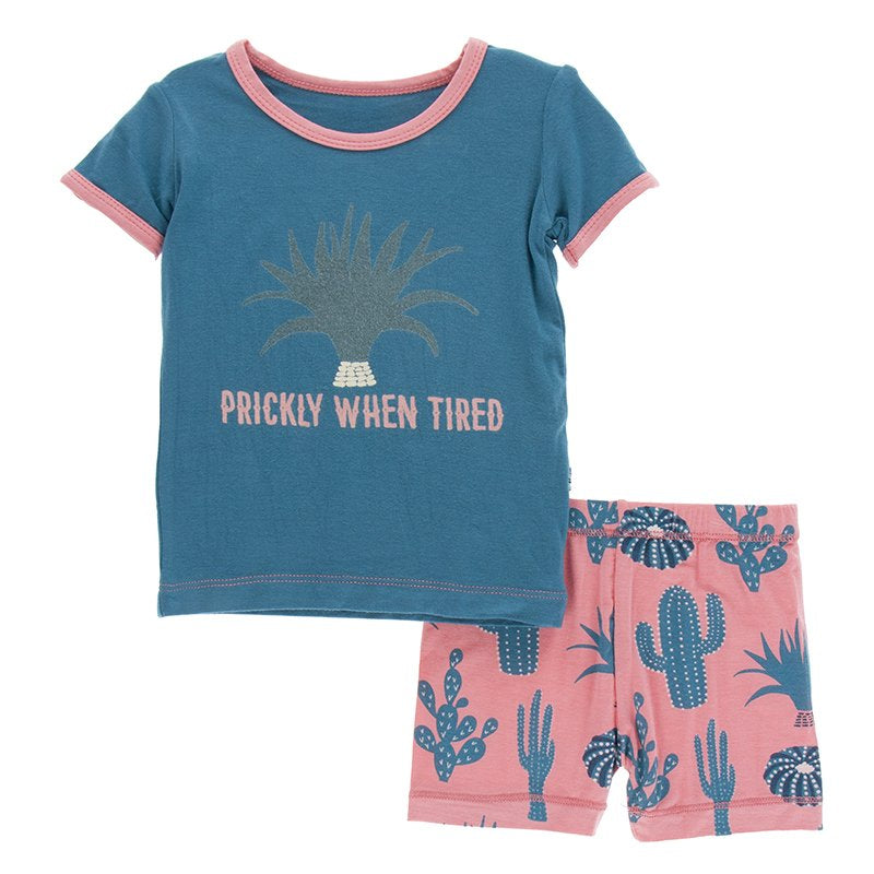 KicKee Pants Short Sleeve Pajama Set with Shorts Strawberry Cactus