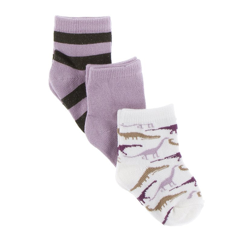 Kickee Pants Socks (Set of 3) - Paleontology Flora Stripe, Sweet Pea and Natural Sauropods