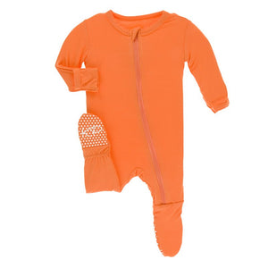 KicKee Pants Footie with Zipper Solid Nectarine