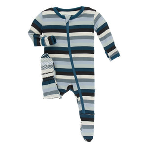 KicKee Pants Footie with Zipper Meteorology Stripe