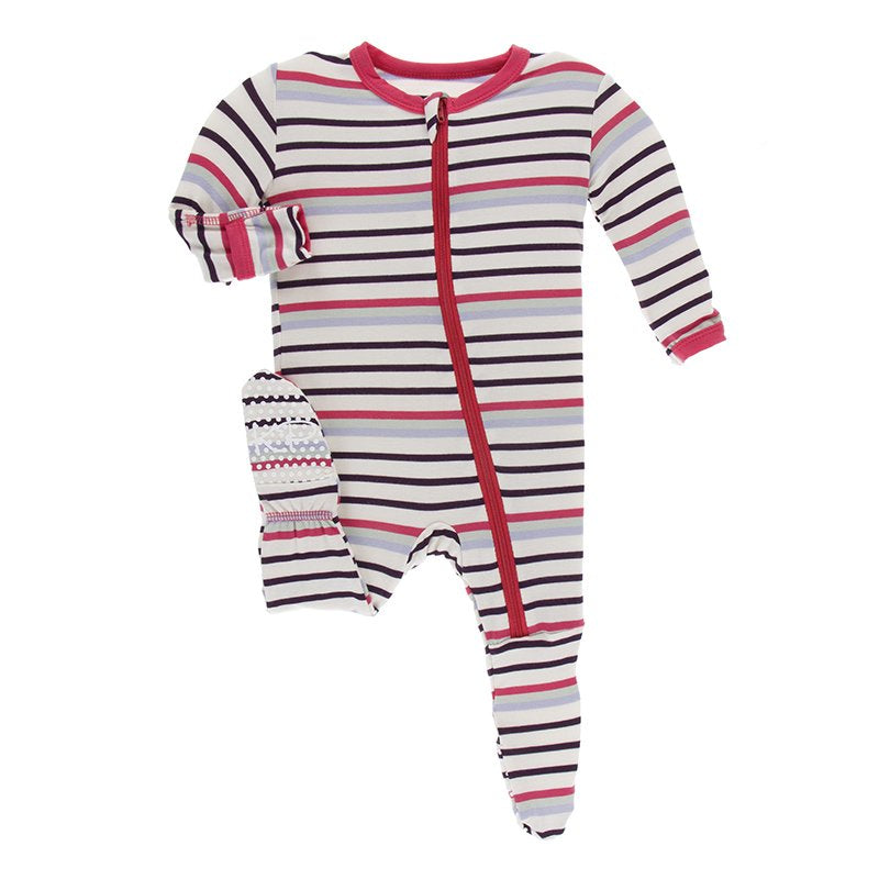 KicKee Pants Footie with Zipper Chemistry Stripe