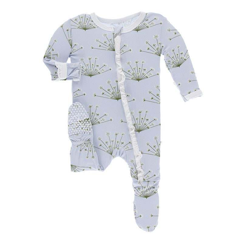 KicKee Pants Ruffle Footie with Zipper Dew Dill