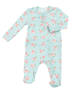 Angel Dear Zipper Ruffle Footie - Petite Rose