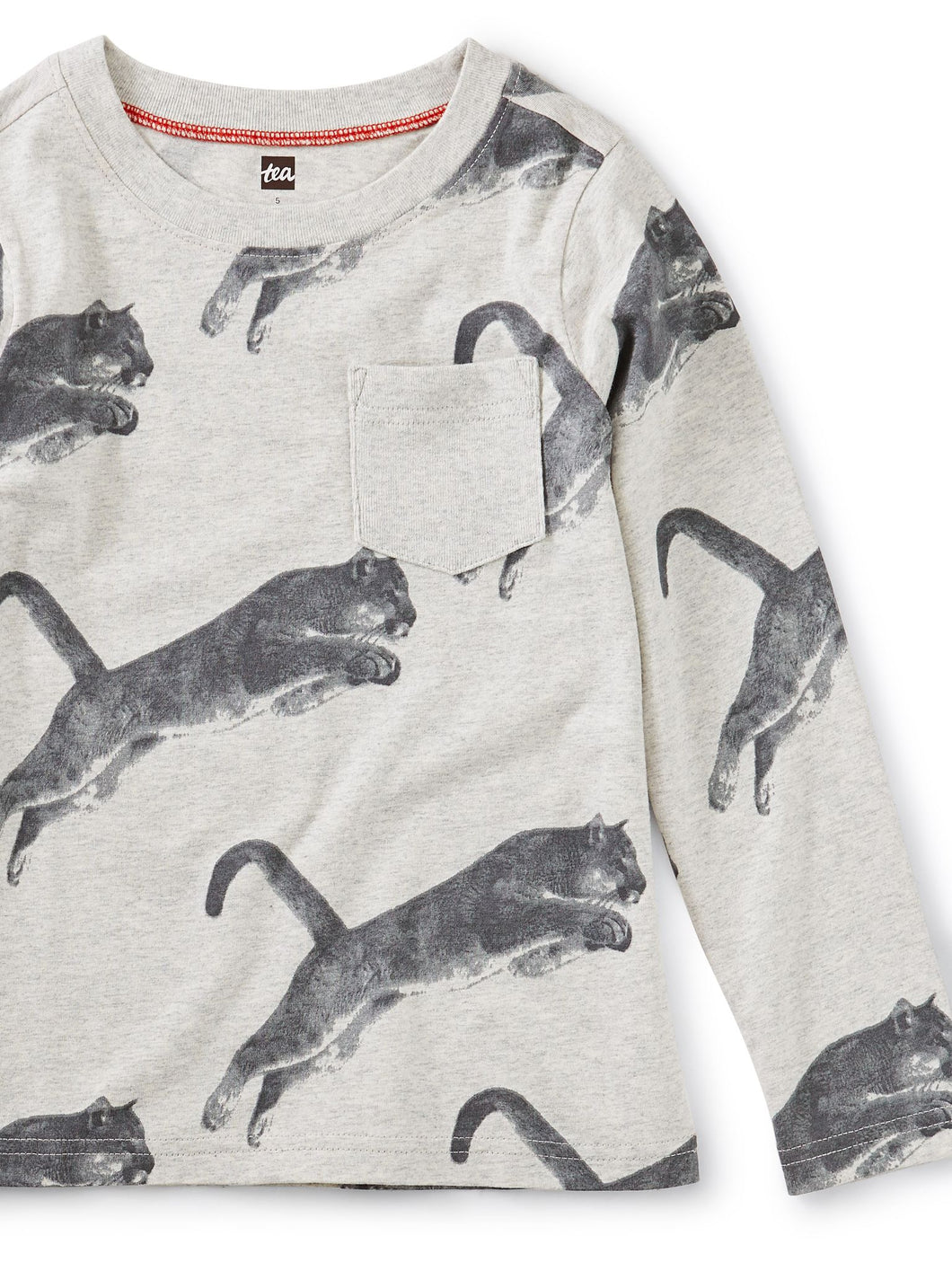 Tea Collection Printed Tee with Rib Pocket - Peruvian Panther