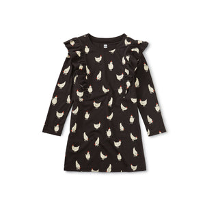 Tea Collection Ruffle Dress - Cheery Chickens