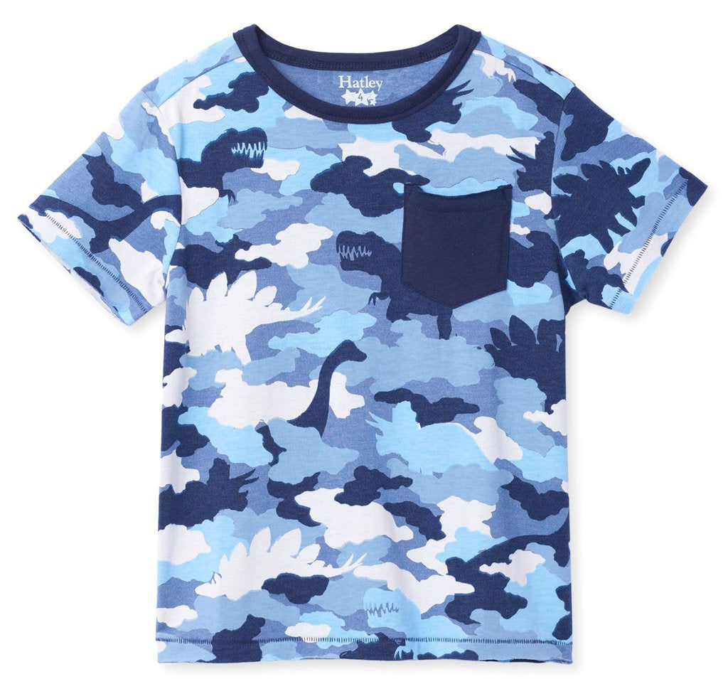 Hatley Dino Camo Graphic Front Pocket Tee
