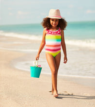 Load image into Gallery viewer, Hatley Shimmer Rainbow Ruffle Sleeve Swimsuit