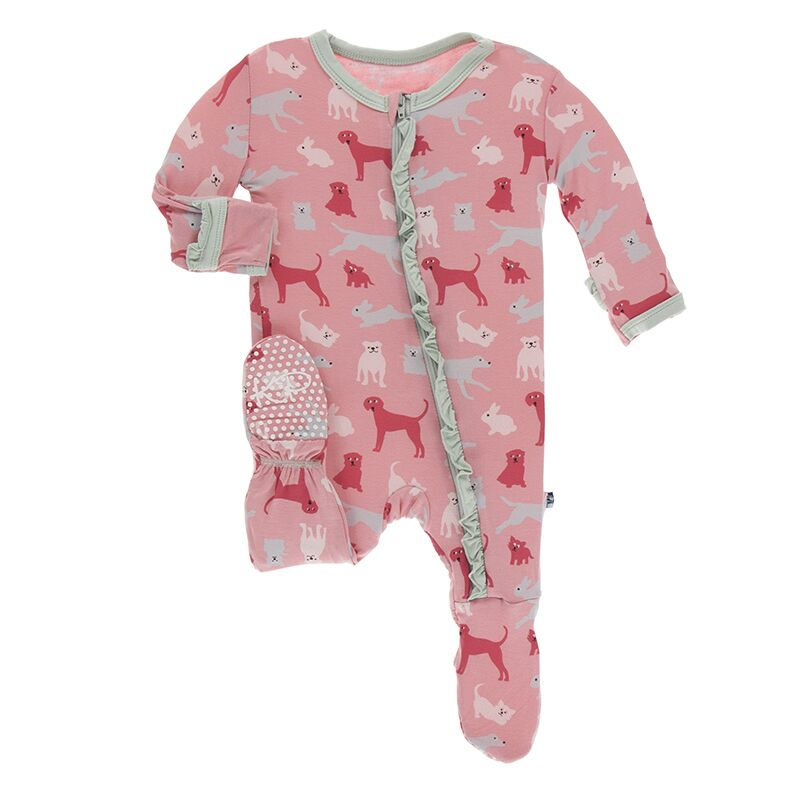 KicKee Pants Ruffle Footie with Zipper - Strawberry Domestic Animals