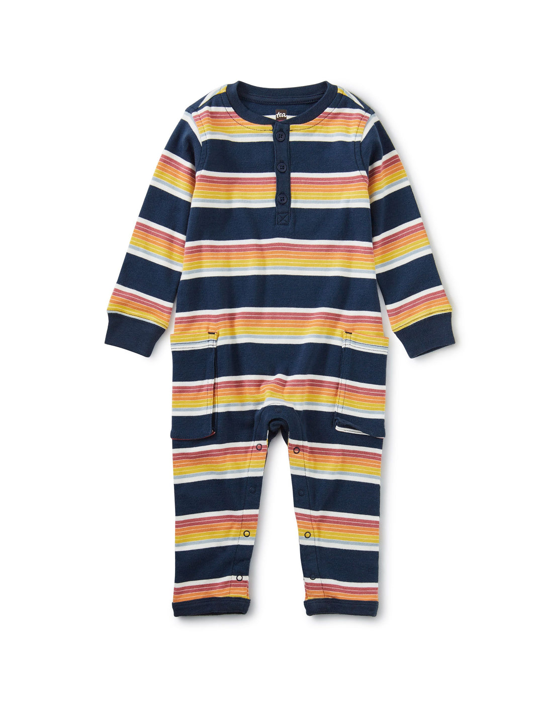 Tea Collection Striped Cargo Romper - Whale Blue