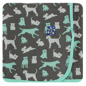 Kickee Pants Print Swaddling Blanket - Stone Domestic Animals