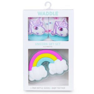 Waddle Socks and Teether Gift Set - Unicorn