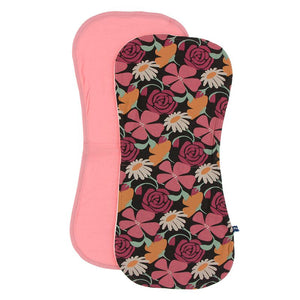 Kickee Pants Burp Cloth Set - Strawberry & Zebra Market Flowers