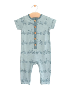 City Mouse Button Romper - Bicycle