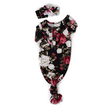 Load image into Gallery viewer, Gigi and Max Knotted Ruffle Button Gown with Headband Set - Black Peony