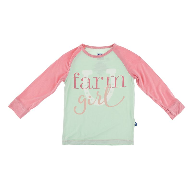 Long Sleeve Piece Print Tailored Fit Raglan Tee - Pistachio Farm Girl