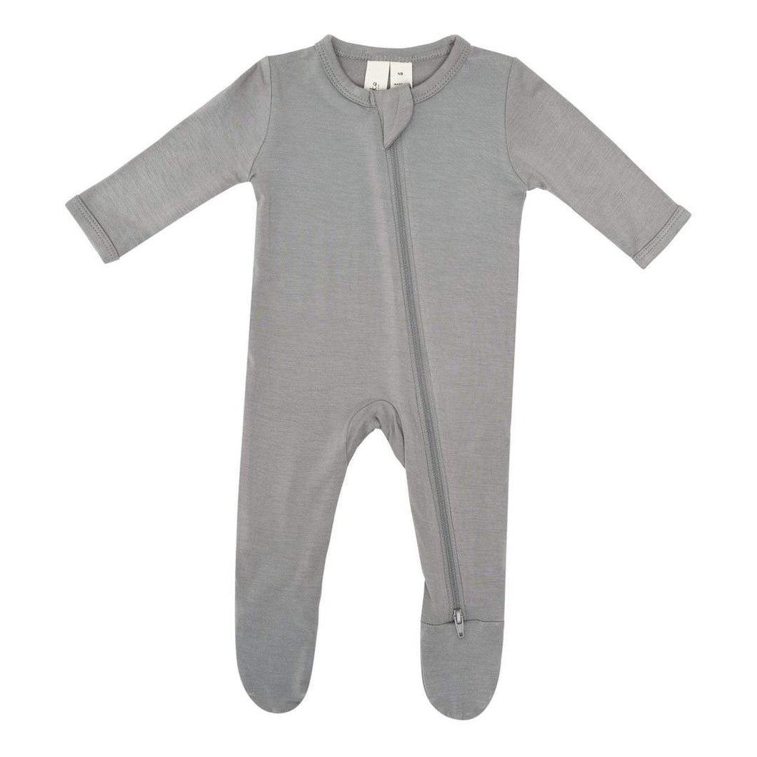 Kyte Baby Zippered Footie - Chrome
