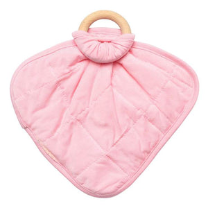 Kyte Baby Lovey with Removable Wooden Teething Ring - Petal