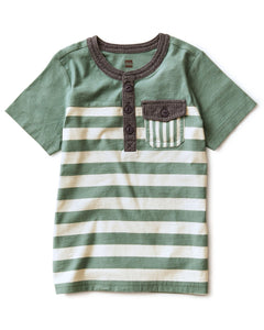 Tea Collection Striped Pocket Henley - Sagebrush