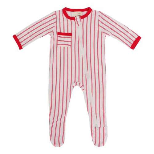Kyte Baby Zippered Footie - Crimson Stripe
