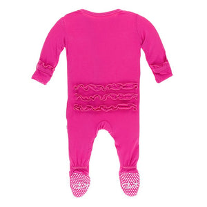 Kickee Pants Solid Classic Ruffle Footie with Snaps - Calypso