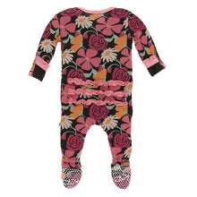 Load image into Gallery viewer, Kickee Pants Print Classic Ruffle Footie with Snaps - Zebra Market Flowers