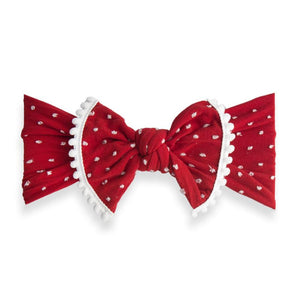 Baby Bling Trimmed Patterned Shabby Knot - Cherry