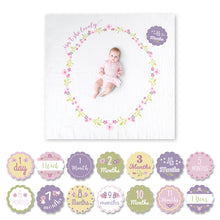 "Load image into Gallery viewer, Lulujo ""Isn't She Lovely"" Baby's First Year Blanket & Cards Set"