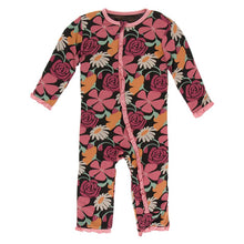 Load image into Gallery viewer, KicKee Pants Print Ruffle Coverall with Zipper - Zebra Market Flowers