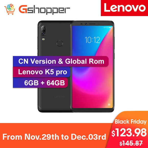 Global Rom Lenovo K5 Pro 6GB 64GB Snapdragon636 Octa Core Smartphone Quad Cameras 5.99 inch Screen 4G LTE Mobile Phones 4050mAh