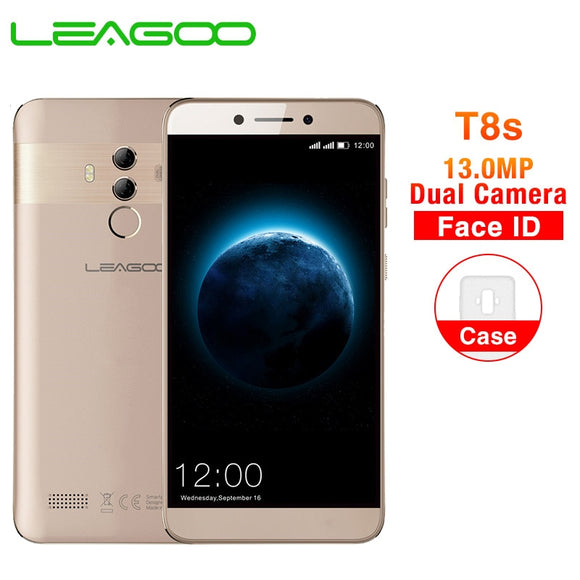 LEAGOO T8s 5.5'' FHD Incell screen Mobile Phone Android 8.1 MTK6750T Octa Core 4GB 32GB 13MP Dual Camera Face ID 4G Smartphone