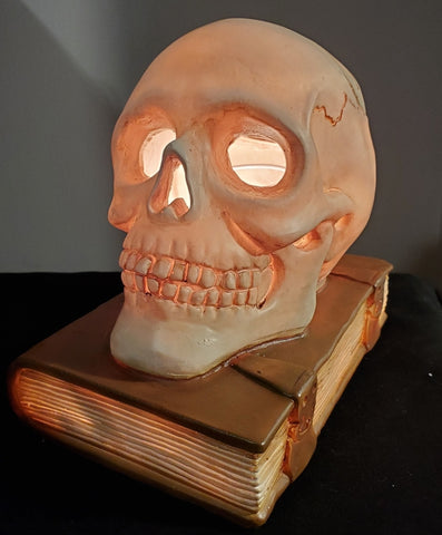 skull and book oil warmer by aroma delights