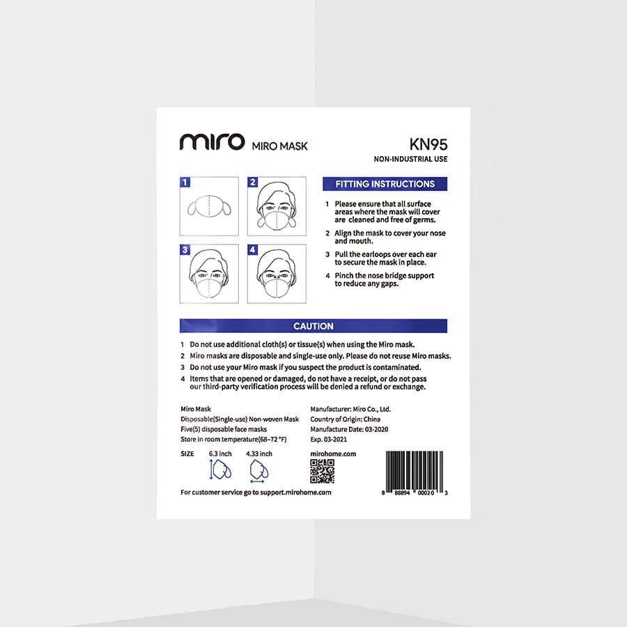 Miro Safety Mask Package Back