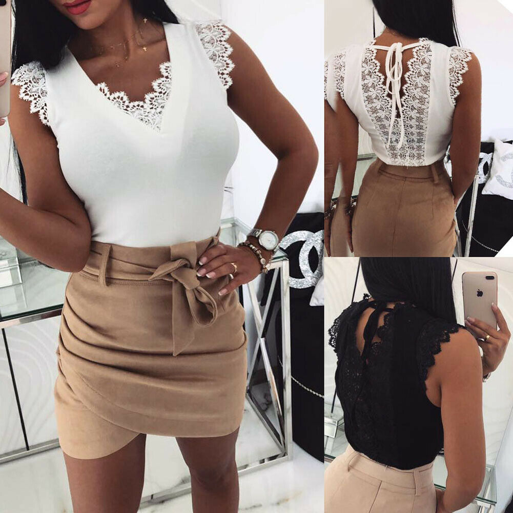 Sexy Women Lace T-shirt Top Fashion Ladies Holiday Casual Camisole Tank Top Sleeveless V-Neck Solid Slim Female T-shirt