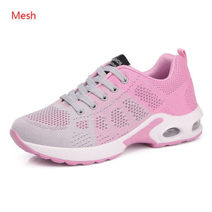 Ladies Trainers Casual Mesh Sneakers Pink Women Flat Shoes Lightweight Soft Sneakers Breathable Footwear Basket Shoes Plus Size