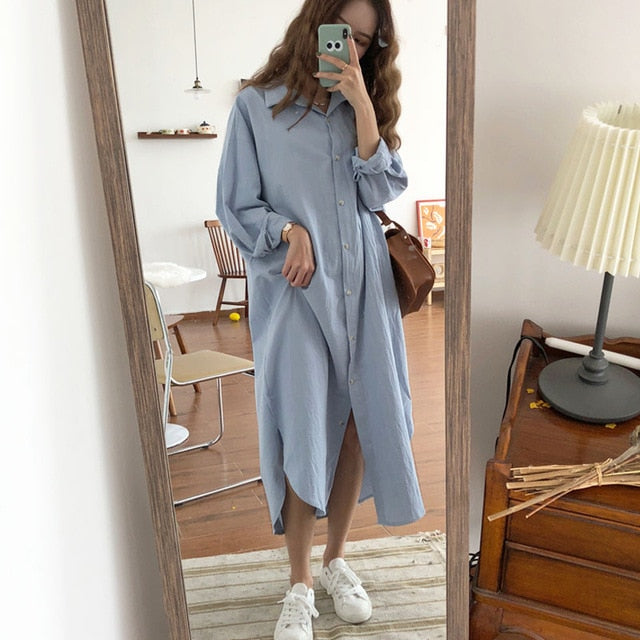 Vintage autumn Long Dress long Sleeve shirt turn down collar woman Lady loose shirt Casual Fashion maxi Dress cotton blue white