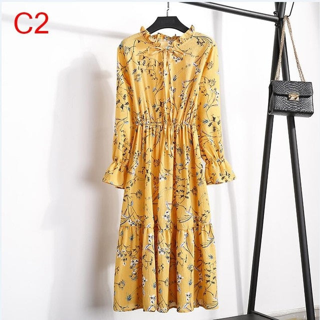 2020 Spring Women Dress For Ladies Long Sleeve Polka Dot Vintage Chiffon Shirt Dress Casual Black Red Floral Autumn Midi Dress