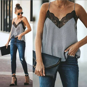 New Fashion Women Ladies Lace Vest Print Top Sleeveless V-Neck Casual Loose Summer Beach Tank Tops Shirts Lady Clothes