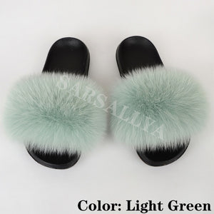 Real Fur Slides Women Fluffy Summer Slippers Female Furry Outdoor Sandals Shoes Woman Luxury Ladies Flat Footwear 2020 Wholesale