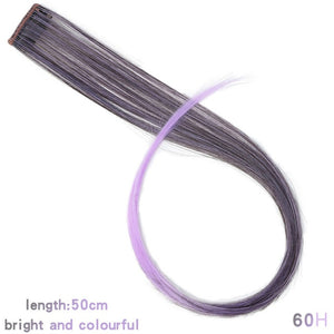 LUPU Colored Synthetic Hair Extensions Long Straight One Clip In One Piece Strips Rainbow Highlight Hairpiece For Women 22Inch