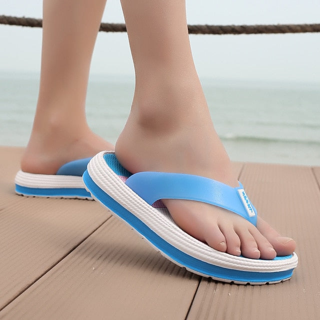 POLALI 2020 Summer Slippers Women Casual Massage Durable Flip Flops Beach Sandals Female Wedge Shoes Striped Lady Room Slippers