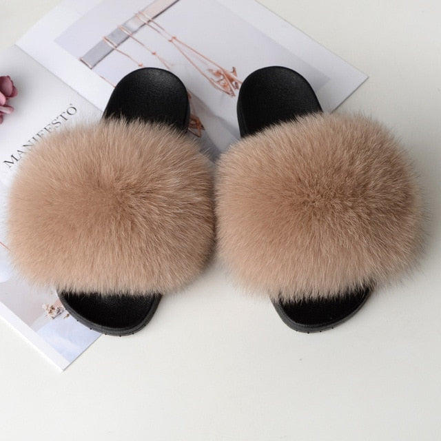 2020 Women's real fur slippers raccoon Furry Fox slipper fur slides Cute Ladies Cute Plush Sandals Flat Fluffy Shoes for Women