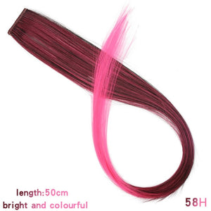 AOSI Long Straight Colored Highlight Synthetic Hair Extensions Clip In One Piece Rainbow Streak Pink Hair Strands For Women Girl