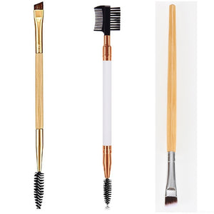 Double Ended Wood Handle Eyebrow Brush Beauty Makeup Brushes Eye Brow Comb Brushes Professional Make Up Beauty Cosmetics Tool